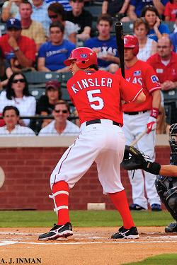Kinsler batting at Rangers Ballpark
